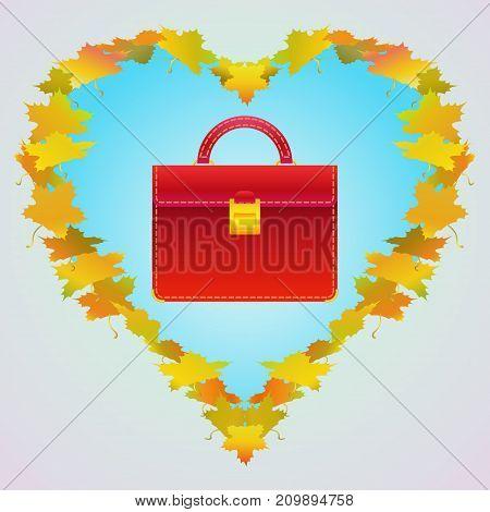 Red handbag vector illustration. Autumn bags collection concept