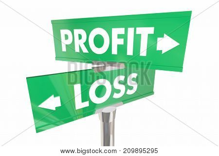 Profit Vs Loss Earn Make Money Two Road Signs 3d Illustration