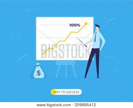 Business coach at the blackboard. Vector eps 10. Training Business School. Cartoon character - cute businessman. Stock vector illustration in flat design.