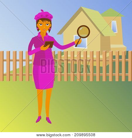 Woman with magnifying glass looking for a house - vector property valuation illustration