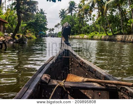 Boat cruise on the canals of Kerala India