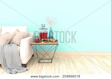 Minimal blue living room interior with white fabric sofa, glasses, cabinet and plants on empty blue wall background.3d rendering.