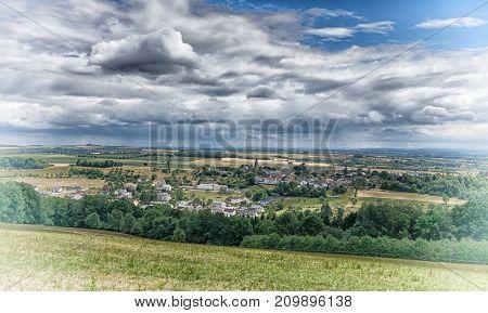 Panoramic view over village Wiersdorf, landscape of Eifel area close to Bitburg, Germany, Europe