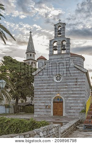 View of the The Holy Trinity Church in the old town of Budva. Montenegro.