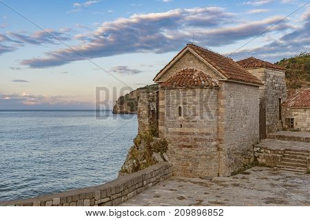 View of the The Saint Sava Church in the old town of Budva. Montenegro.
