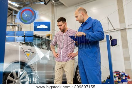 auto service, repair, maintenance and people concept - mechanic with clipboard and man or owner at car shop