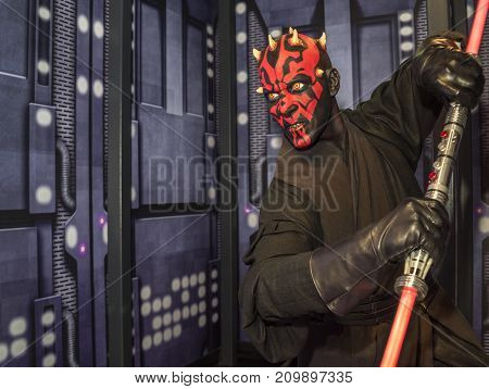 Berlin -March 2017: Dartt Maul wax figure in the Star Wars hall in Madame Tussaud's museum