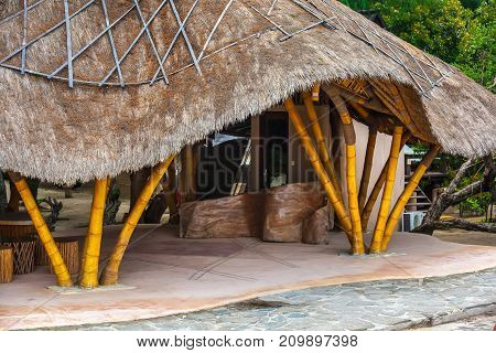 Bamboo house with a straw roof made by own hands. Life and interior items of the Gili Trawangan island, Indonesia.