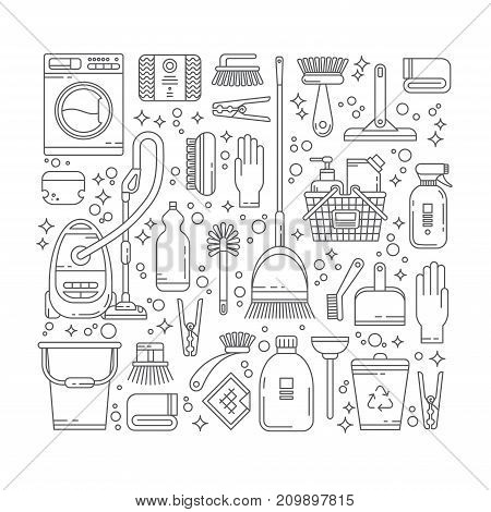 Cleaning service concept illustration in thin line design. Icons with elements of household supplies, chemistry. Modern vector pictogram collection for web sites, banner, mobile apps, infographics.