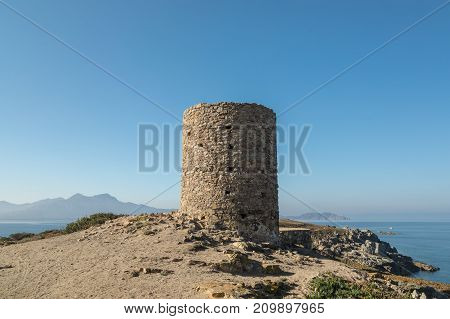 Genoese Tower At Punta Spano In The Balagne Region Of Corsica