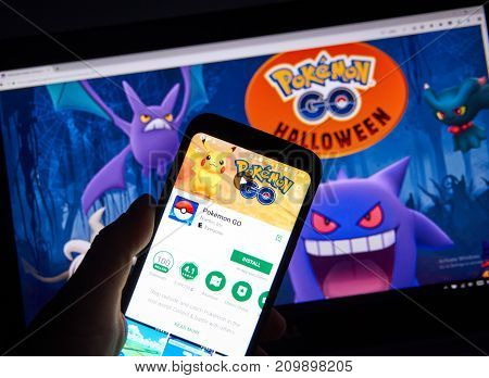 MONTREAL CANADA - OCTOBER 20 2017: Pokemon GO android app on Samsung S8 over Pokemon Go Home page introducing new creatures for Halloween.