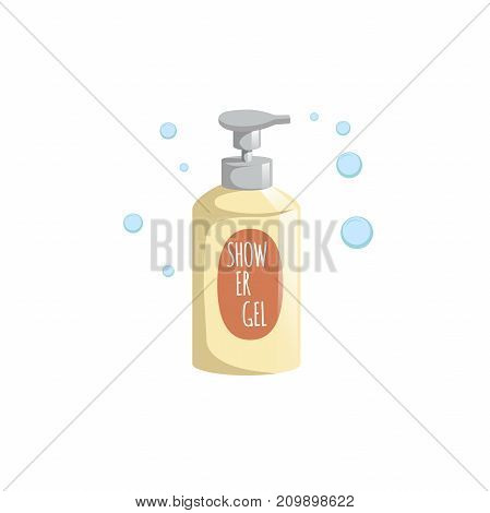 Cartoon trendy design yellow bottle with dispenser icon. Shower gel with foam bubbles vector illustration.