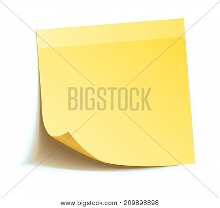Yellow sticker, ready for your message. Vector illustration. Isolated on white background. Front view. Top view. Close up.