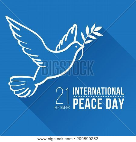 International Peace Day with White line border peace dove sign on blue background vector design