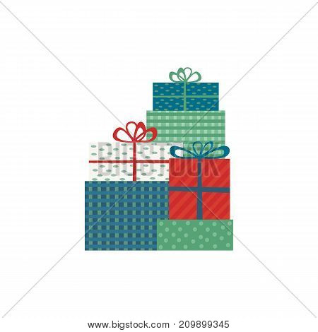 Abstract decorated boxes in wrapping paper. Christmas decoration icon. Retro colors flat style. Holiday gift case in decorative packing, ribbon and band. Stylized vector box symbol silhouette isolated