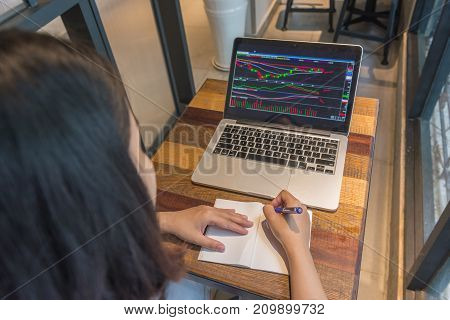 Investor writing note about the change of stock market on Internet
