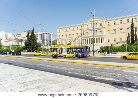 ATHENS, GREECE - May 3, 2017: Street view of  modern buildings in Athens, Greece