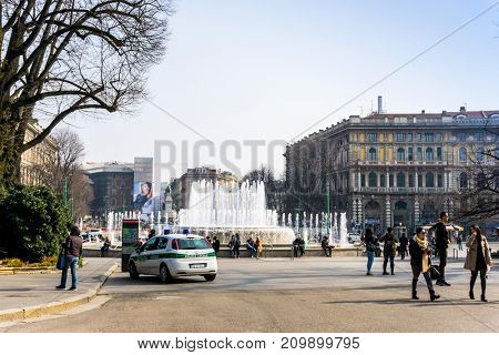 MILAN, ITALY - March 16, 2017: street view of downtown milan, capital of the Lombardy region, ranking 4th in the European Union