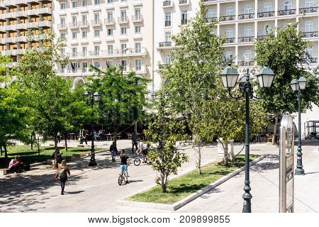 ATHENS, GREECE - May 3, 2017: Tourists on foot Graben Street in Athens, Greece