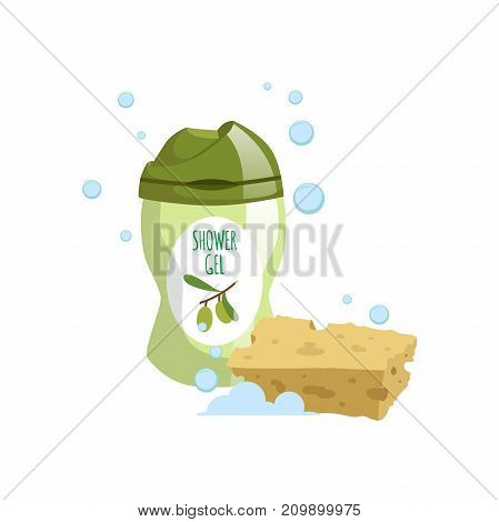 Cartoon trendy design green container with olive liquid soap and yellow bath sponge icon. Shower gel. Hygiene and body care vector illustration.