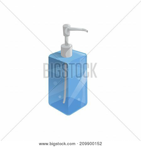 Trendy cartoon style liquid soap transparent blue bottle with dispenser and bubbles. Every day hygiene and health care vector illustration.