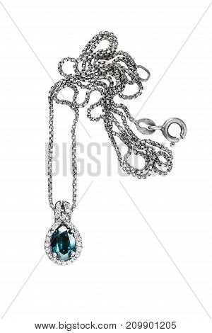 Elegant topaz pendant with diamonds on silver chain isolated over white