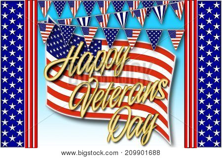 Happy Veterans Day, Festival, 3D Illustration, Honoring all who served, American holiday template.