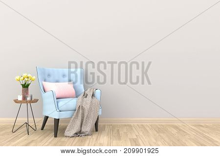 Minimal. White living room interior with blue fabric armchair, cabinet, coffee cup and plants on empty white wall background.3d rendering.