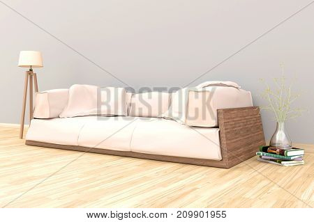 Minimal. White living room interior with white fabric sofa, lamp, cabinet and plants on empty white wall background.3d rendering.