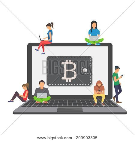 Flat modern design concept of cryptocurrency technology, bitcoin exchange, bitcoin mining, e-wallet