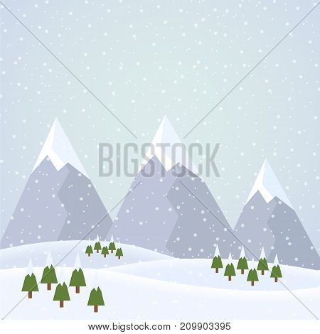 Vector flat design illustration of a snowy winter mountain landscape with hills coniferous trees and snowflakes on a winter day under a gray sky - suitable for Christmas greeting