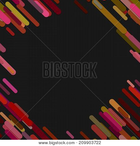 Geometrical chaotic rounded diagonal stripe background pattern - vector design from colorful lines on black background