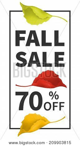 Fall sale vertical poster with leaves of yellow, red, green, indicating the percentage discount. Vector design for leaflets store or autumn sale  web banner background
