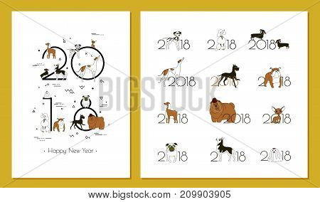2018 - the year of the dog to the Eastern calendar. Creative headline and 12 logos with different breeds of dogs. Minimalism. Sketch style. Isolated on yellow background. Vector illustration