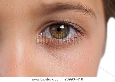 Close-up of boy with hazel eyes