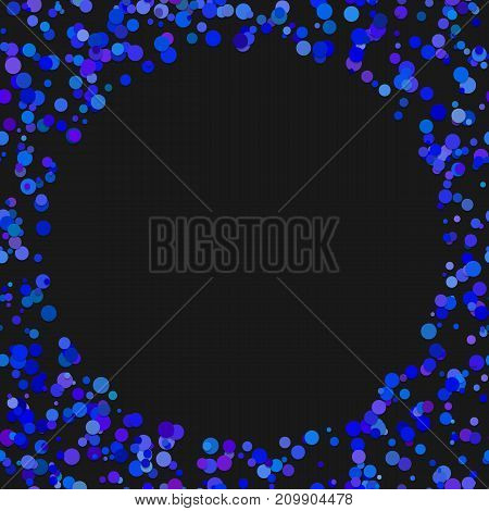 Colored random dot background - vector illustration from dots in blue tones with blank space in the middle