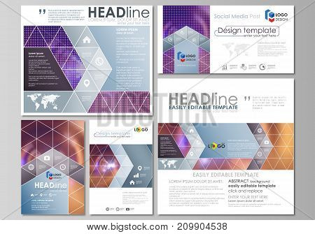 Social media posts set. Business templates. Easy editable abstract flat design template, vector layouts in popular formats. Bright color colorful design, beautiful futuristic background.