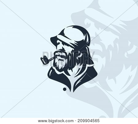 Vector silhouette of an old man for any use