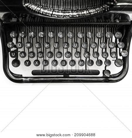 Old Manual Typewriter Machine, Top View