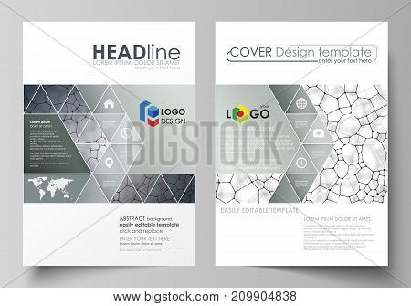 Business templates for brochure, magazine, flyer, booklet or annual report. Cover design template, easy editable vector, abstract flat layout in A4 size. Chemistry pattern, molecular texture, polygonal molecule structure, cell. Medicine, science, microbio