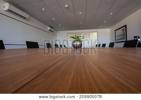 Interior of empty modern board room
