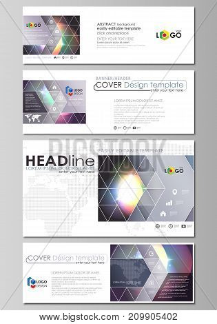Social media and email headers set, modern banners. Business templates. Easy editable abstract design template, vector layouts in popular sizes. Retro style, mystical Sci-Fi background. Futuristic trendy design.