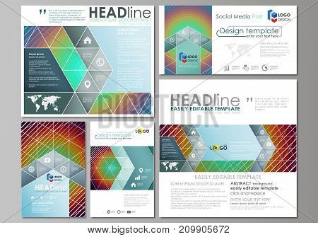 Social media posts set. Business templates. Easy editable abstract flat design template, vector layouts in popular formats. Minimalistic design with circles, diagonal lines. Geometric shapes forming beautiful retro background.