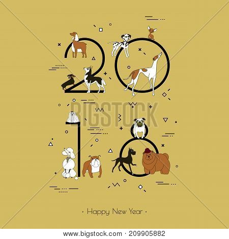 Template headline 2018 with a breed of dogs in Memphis style. Dog symbol of Chinese New Year. Different geometric ornament in the style of 80-90. Vector. Black and white isolated on yellow background