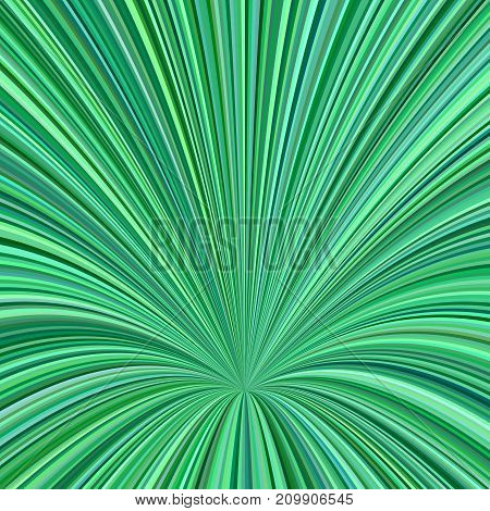 Curved ray burst background - vector graphic from striped rays in green tones