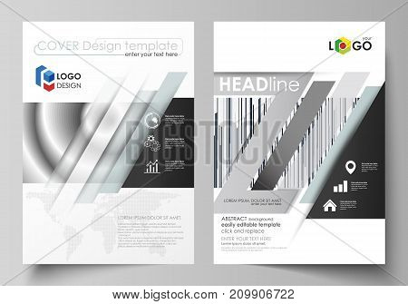 Business templates for brochure, magazine, flyer, booklet or annual report. Cover design template, easy editable vector, abstract flat layout in A4 size. Simple monochrome geometric pattern. Minimalistic background. Gray color shapes.