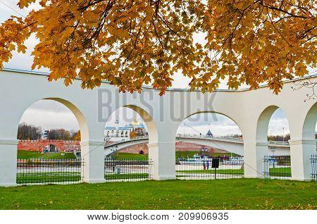 VELIKY NOVGOROD RUSSIA -OCTOBER 19 2017. Novgorod Kremlin and Yaroslav Courtyard arch Veliky Novgorod Russia