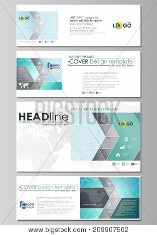 The minimalistic vector illustration of the editable layout of social media, email headers, banner design templates in popular formats. Futuristic high tech background, dig data technology concept