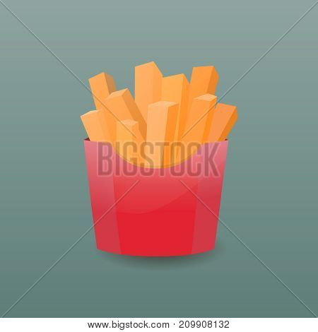 French fries in paper box. Vector illustration. French fries fast food in a red package