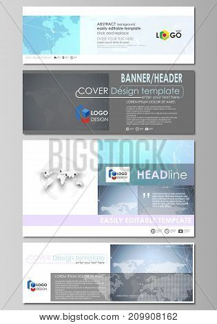 The minimalistic vector illustration of the editable layout of social media, email headers, banner design templates in popular formats. Polygonal texture. Global connections, futuristic geometric concept.